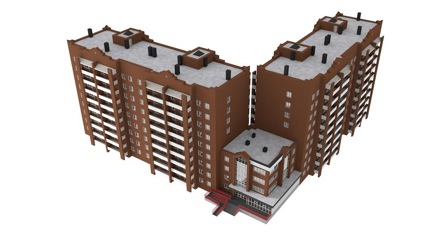 Residential City Apartment Building royalty-free 3d model - Preview no. 3