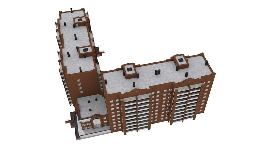 Residential City Apartment Building royalty-free 3d model - Preview no. 4