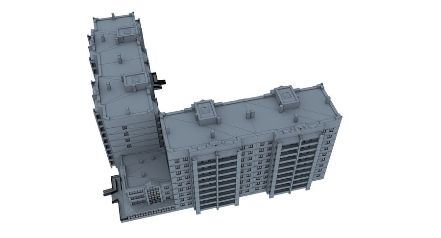 Residential City Apartment Building royalty-free 3d model - Preview no. 13