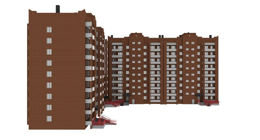 Residential City Apartment Building royalty-free 3d model - Preview no. 8