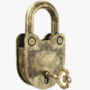 Rusted Golden Padlock 3d model