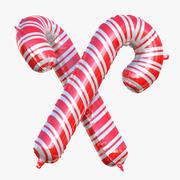 圣诞拐杖铝箔气球充气 3d model