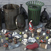 Trash Scene HD 3d model