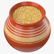 Olla de cerámica con cebada descascarada modelo 3d