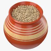 Ceramic Pot With Rye 3d model