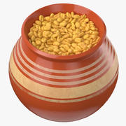 Olla de cerámica con trigo integral modelo 3d