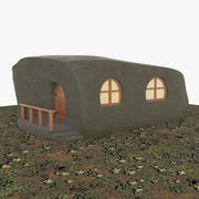 Casa de pedra da floresta dos desenhos animados 3d model