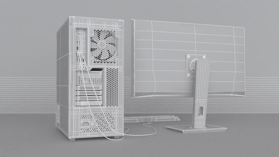 Gaming Desktop PC royalty-free 3d model - Preview no. 14