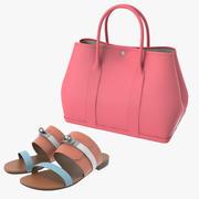 헤르메스 여성 가방 & 샌들 세트 3d model