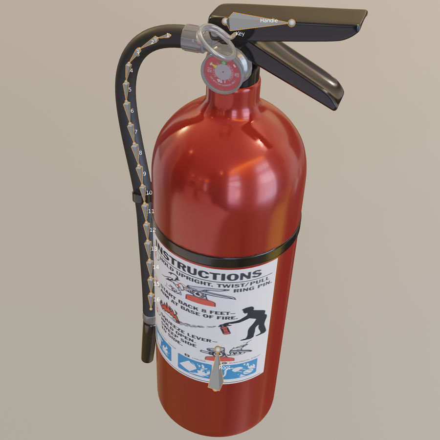 Fire Extinguisher royalty-free 3d model - Preview no. 16