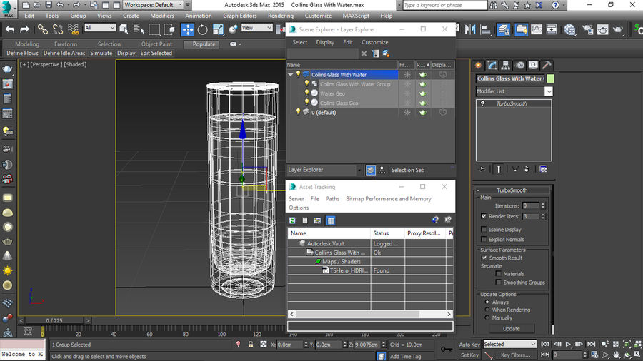Collins Glass With Water royalty-free 3d model - Preview no. 19