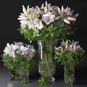粉色百合安排花束装饰花瓶 3d model