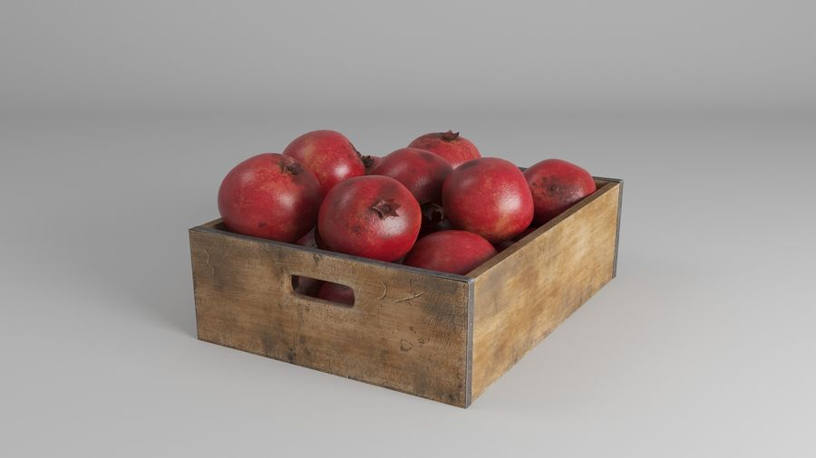 Caja de frutas de granada royalty-free modelo 3d - Preview no. 4