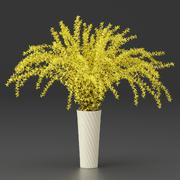 レンギョウの黄色の花の花束 3d model