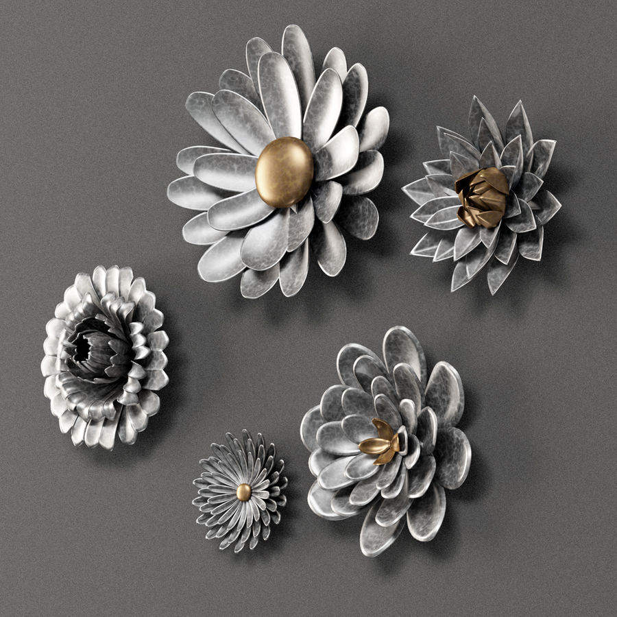 Gray 5 Piece Galvanized Metal Flower Hanging Wall Decor Set 3d Model 10 Max Obj Fbx Unknown Free3d