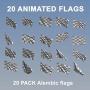 Animowane flagi - 20 szt 3d model