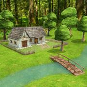 Escena de la casa del bosque en tiempo real modelo 3d