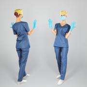 Infirmière chirurgicale prête pour la chirurgie 108 3d model
