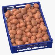 Efter-skörden bricka med röda potatisar 3d model