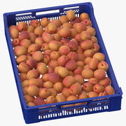 Obst- und Gemüsetablett mit Aprikosen nach der Ernte 3d model