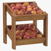 Wooden Merchandise Shelf 02 with Peaches 3d model