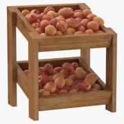 Wooden Merchandise Shelf 02 With Apricots 3d model