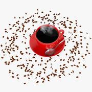 Rode koffiekopje met koffiebonen 3d model