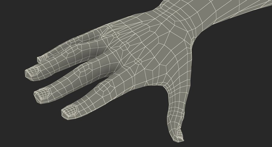 Female Hand with Short Nails Rigged for Cinema 4D royalty-free 3d model - Preview no. 24