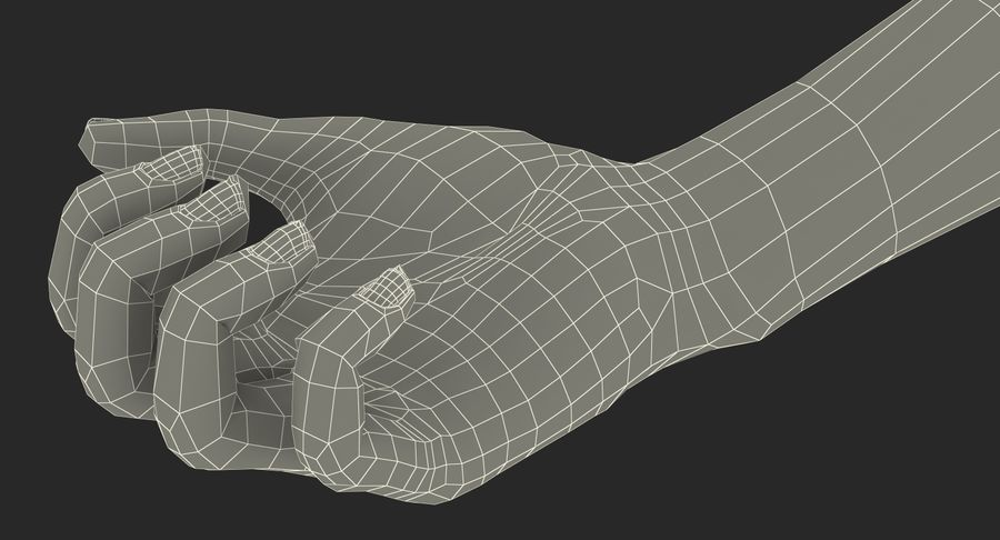 Female Hand with Short Nails Rigged for Cinema 4D royalty-free 3d model - Preview no. 23