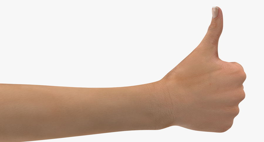 Female Hand with Short Nails Rigged for Cinema 4D royalty-free 3d model - Preview no. 11