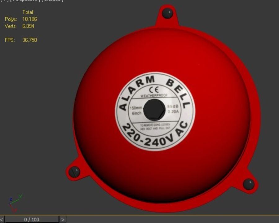 BRAND ALARM BELL BUZZER royalty-free 3d model - Preview no. 5