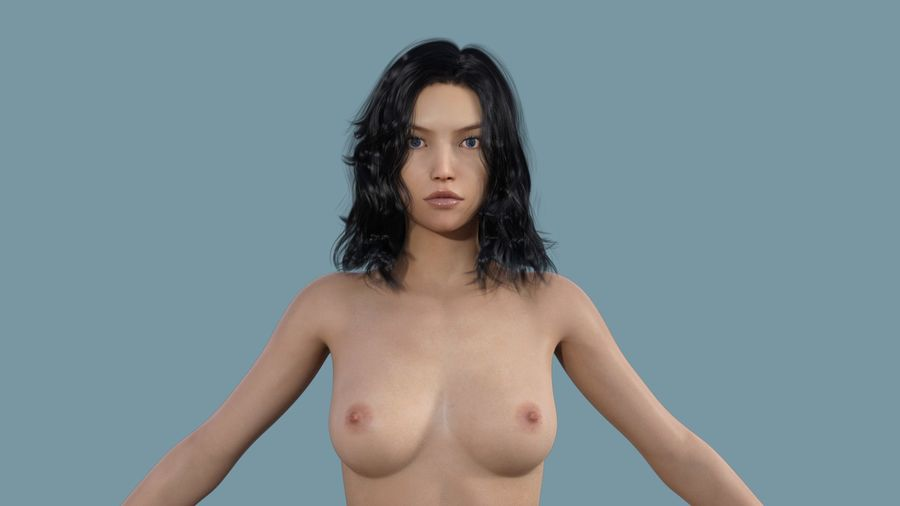 Realistic Female Character 3 royalty-free 3d model - Preview no. 9