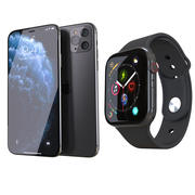 Phone 11 Pro Max and Apple Watch 4 3d model