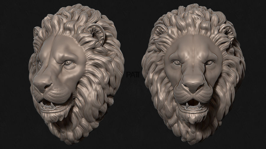 Lion Head Sculpture Stare royalty-free 3d model - Preview no. 2