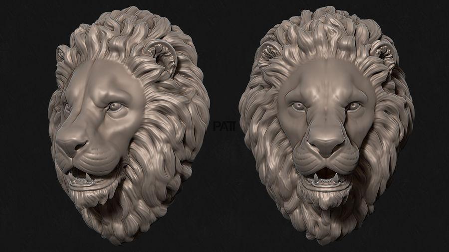 Mirada de escultura de cabeza de león royalty-free modelo 3d - Preview no. 2