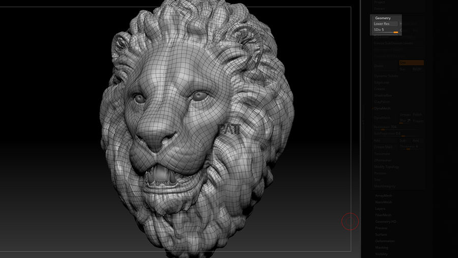 Lion Head Sculpture Stare royalty-free 3d model - Preview no. 8