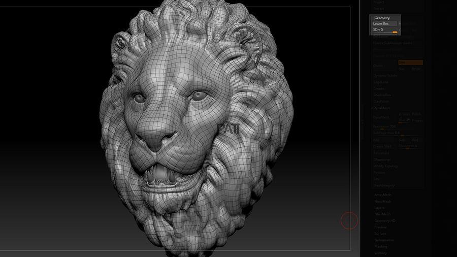 Mirada de escultura de cabeza de león royalty-free modelo 3d - Preview no. 8