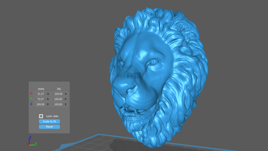 Tête de Lion Sculpture Stare royalty-free 3d model - Preview no. 6