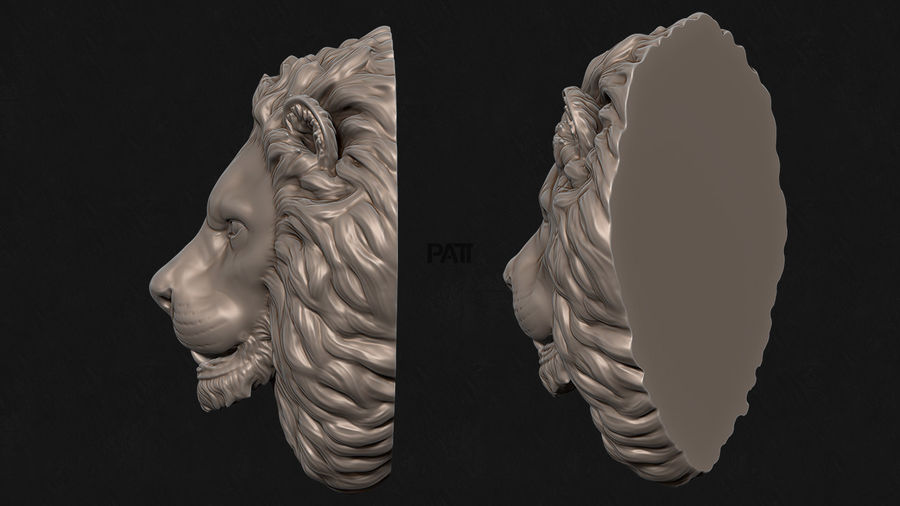 Lion Head Sculpture Stare royalty-free 3d model - Preview no. 3