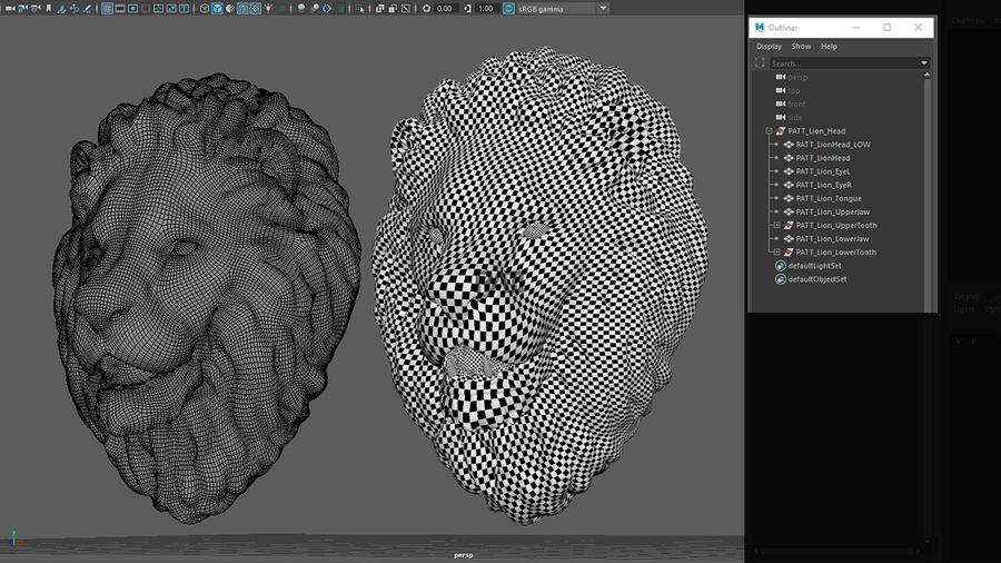 Mirada de escultura de cabeza de león royalty-free modelo 3d - Preview no. 4