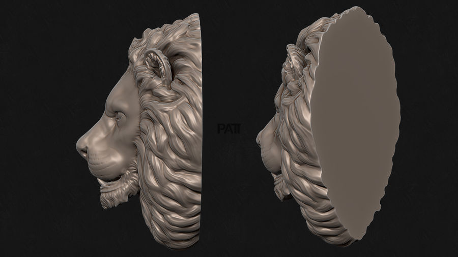 Lion Head Skulptur Stare royalty-free 3d model - Preview no. 3