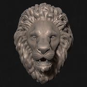 Lion Head Sculpture Stare 3d model
