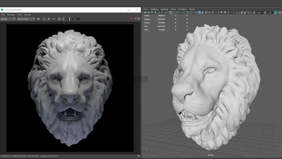 Lion Head Sculpture Stare royalty-free 3d model - Preview no. 5