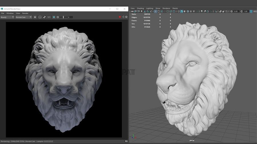 Mirada de escultura de cabeza de león royalty-free modelo 3d - Preview no. 5