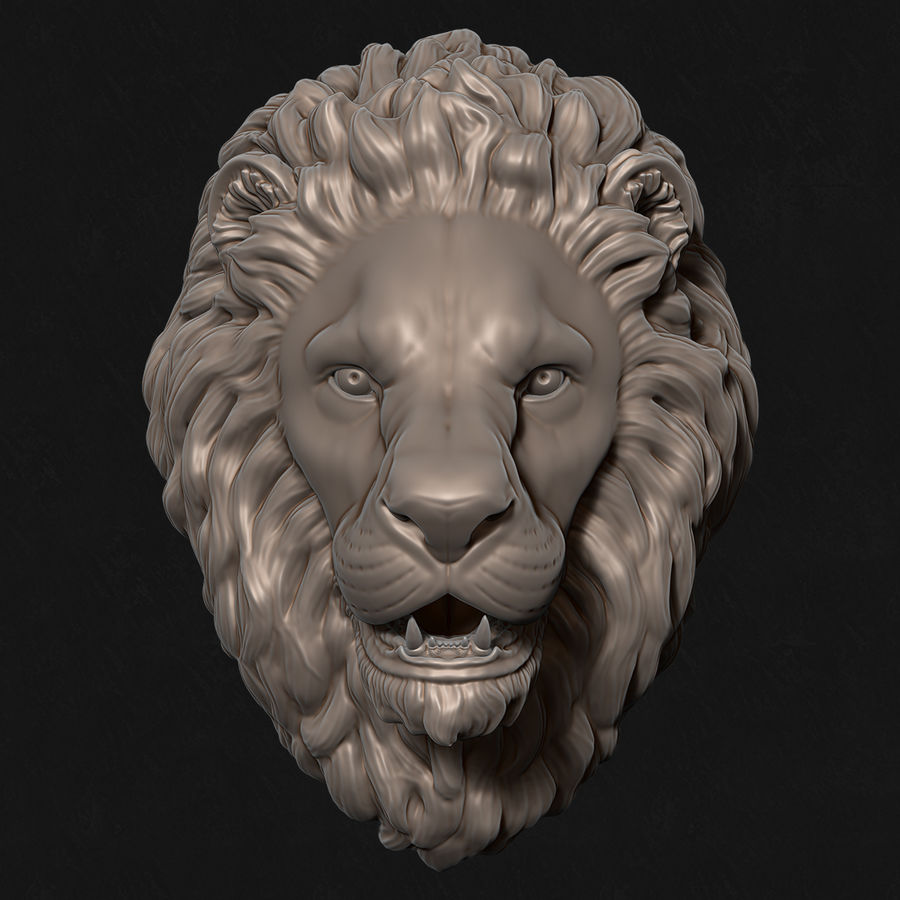 Lion Head Sculpture Stare royalty-free 3d model - Preview no. 1