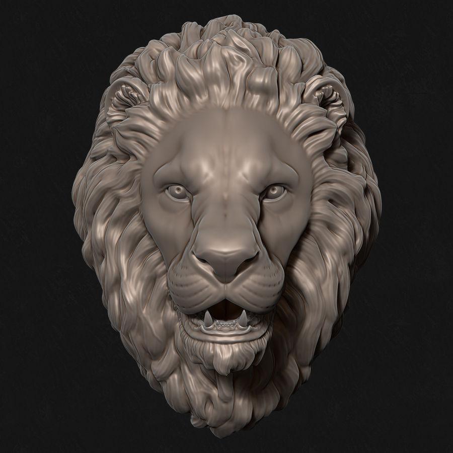 Mirada de escultura de cabeza de león royalty-free modelo 3d - Preview no. 1