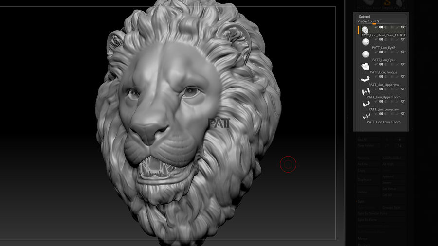Lion Head Sculpture Stare royalty-free 3d model - Preview no. 7