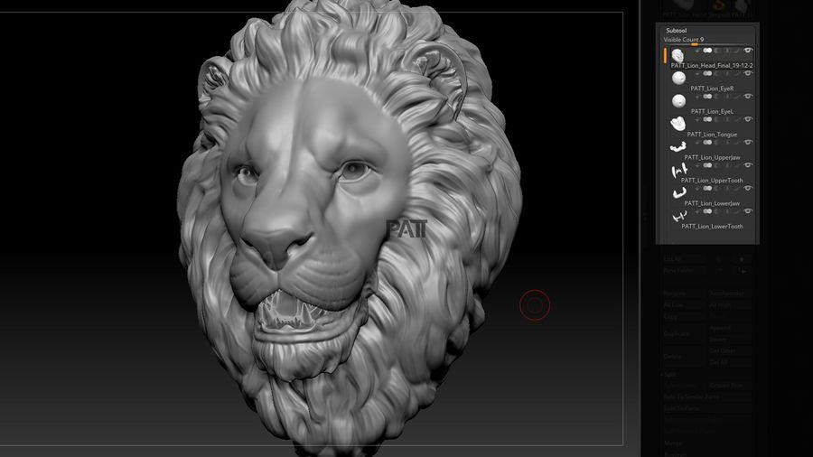 狮子头雕塑凝视 royalty-free 3d model - Preview no. 7