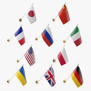 Duvar Bayrakları Koleksiyonu 3d model