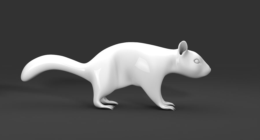 White Squirrel (FUR) royalty-free 3d model - Preview no. 8